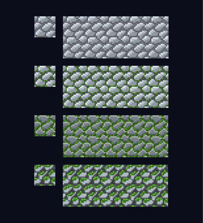 Vector illustration - set of 8 bit 16x16 stone brick texture. Pixel art style game seamless pattern grey and green isolated on dark blue background