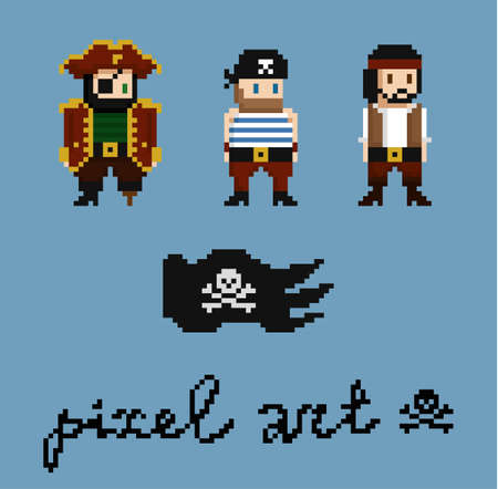 Pixel art characters set. Pirate crew members - captain, cabinboy. Black pirate flag with skull and bones. 8-bit design game assets. Isolated vector illustration.