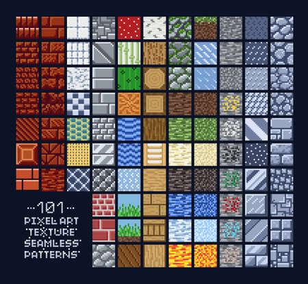 Conjunto de estilo pixel art de diferentes sprites de patrón de textura de 16x16 - piedra, madera, ladrillo, tierra, metal - azulejos de fondo de diseño de juego de 8 bits Ilustración de vector