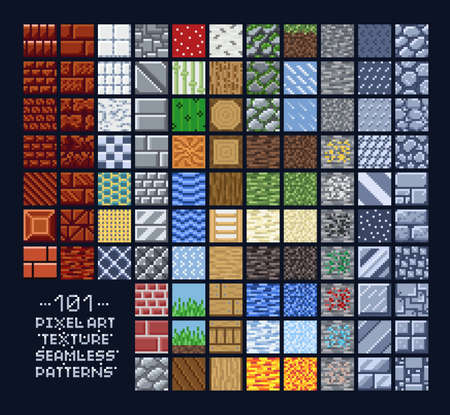 Pixel art style set of different 16x16 texture pattern sprites - stone, wood, brick, dirt, metal - 8 bit game design background tiles