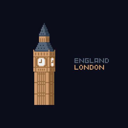 Pixel art vector illustation icon - United Kingdom England London symbol landmark, Big Ben tower. 8-bit. London. on dark blue background Ilustração