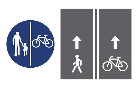 Road sign, pedestrian and bicyclist, vector illustration icon. Circular blue traffic sign. White image on the roadbed. white silhouette of people, man and baby girl, and bicycle isolated Vettoriali