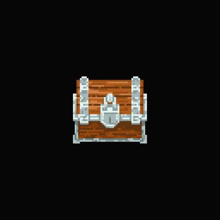 Pixel art vector illustration - pixelated wooden and metal treasure chest Ilustração