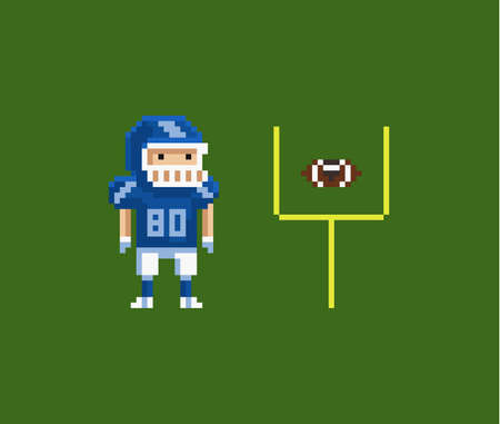 Vector pixel art illustration - American football gridiron player, oval-shaped football and goalposts
