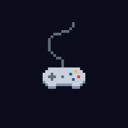white pixel art 8 bit gamepad for game console - Isolated vector icon of wired controller
