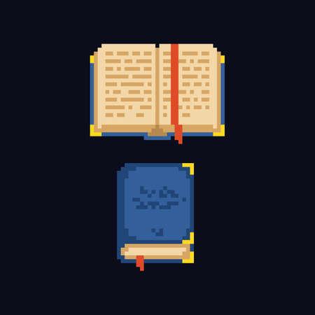 Pixel art design 8 bit retro icon - opened and closed book Stock Illustratie