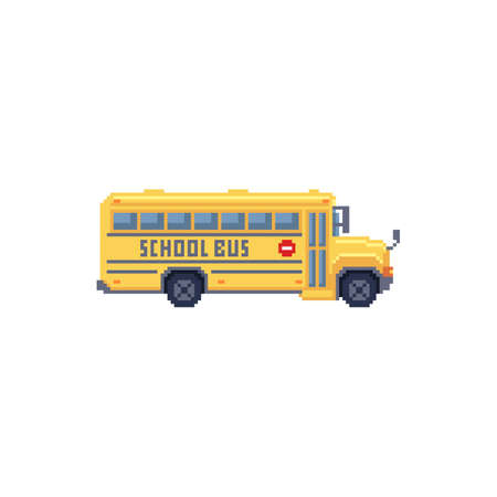 Pixel art 8 bit illustration - yellow children school bus isolated