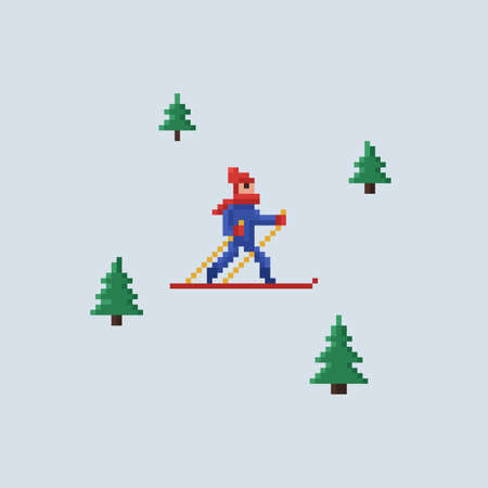 Pixel art vector 8 bit illustration - man in red hat and blue jacket skiing and christmas trees on light blue background