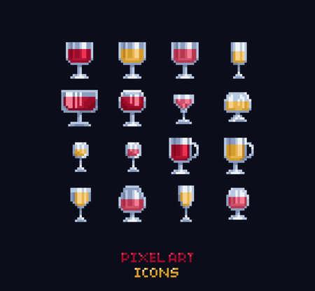 Pixel art vector illustration - red, white, rose, cider, mulled wine glasses. Pixel art design vine icons on dark background