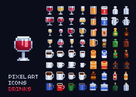 Vector pixel art illustration - hot, cold and alcohol drinks set coffee, tea, vine, whiskey 8 bit icons. Illusztráció