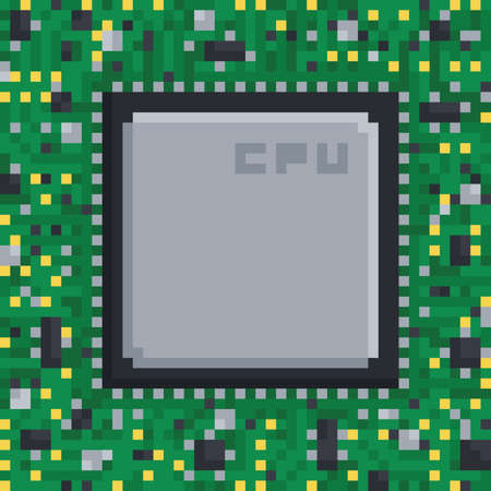 Pixel art hardware circuit board cpu processing unit chip on green Stock Illustratie