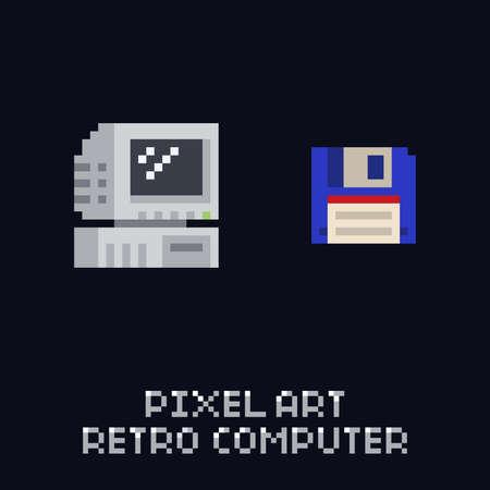 Pixel art retro computer and blue floppy diskette icon - vintage 8 bit vector set on dark background Stock Illustratie