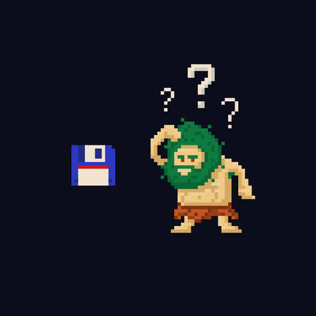 Pixel art primitive ancient cave man confused looking at floppy diskette. Vector illustration character. Game asset 8-bit sprite isolated
