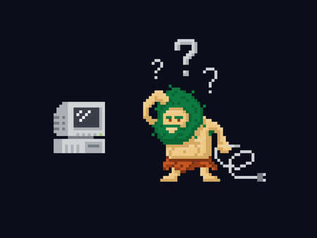 Pixel art primitive ancient cave man confused holding a power cord and looking at old vintage computer. Vector illustration character. Game asset 8-bit sprite isolated Stock Illustratie