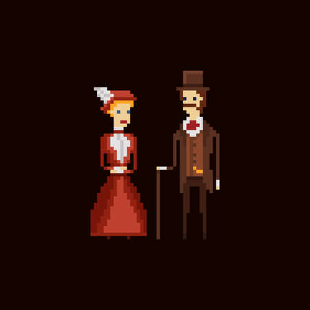 Victorian gentleman with cane and lady in red dress and hat - pixel art vector 8 bit illustration on dark brown background Stock Illustratie
