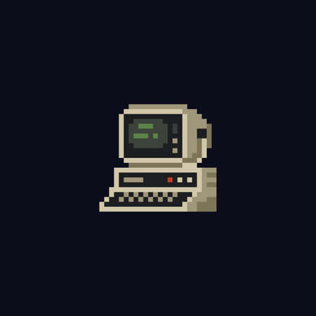 Retro personal computer with terminal console commands on the screen, computer case and keyboard vintage vector illustration, isolated icon