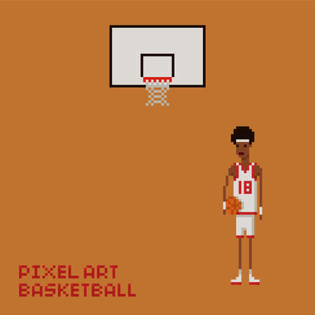 Pixel art style young black man basketball player in white and red uniform holding a ball and baskboard Vettoriali