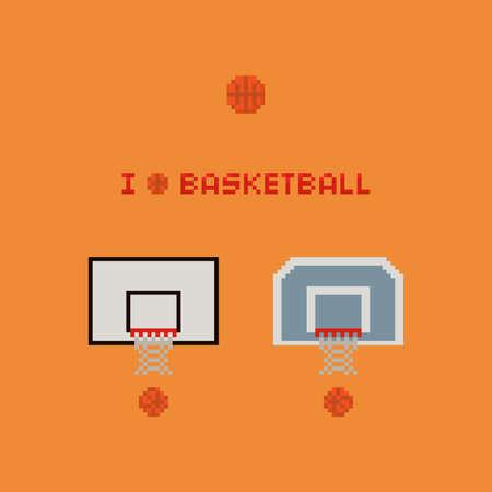 Pixel art 8-bit basketball rings, balls, net - vector icon illustration on yellow background Vettoriali