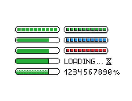 Pixel art vector illustration set - 8 bit retro style loading indicator bars, percent numbers, loading text