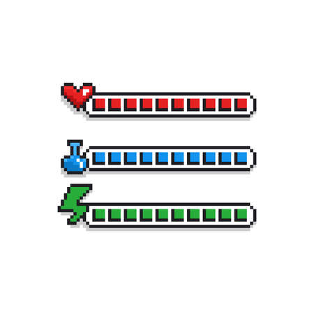 Pixel art 8 bit retro styled game design interface set - red health indicator with heart, blue mana label with potion and green energy loading bar - isolated items on white background