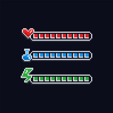 Pixel art 8 bit retro styled game design interface set - red health indicator with heart, blue mana label with potion and green energy loading bar - isolated items
