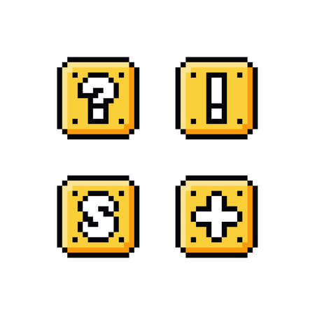 Pixel art 8 bit icon set - yellow golden box with question mark, exclamation mark, letter S and plus sign - isolated vector illustration, game sprite asset Vettoriali