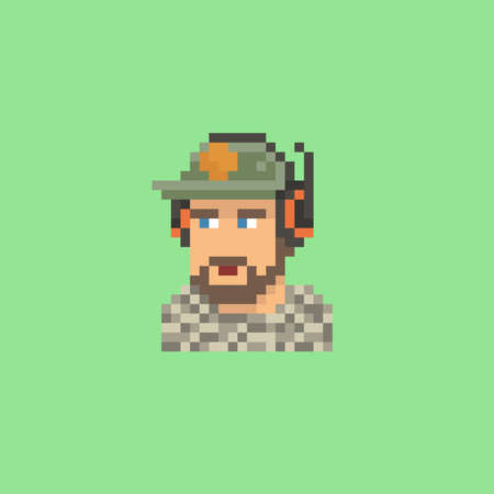 Pixel art vector illustration of a young man with a beard wearing a baseball cap and a black headset, game streamer on green screen background isolated