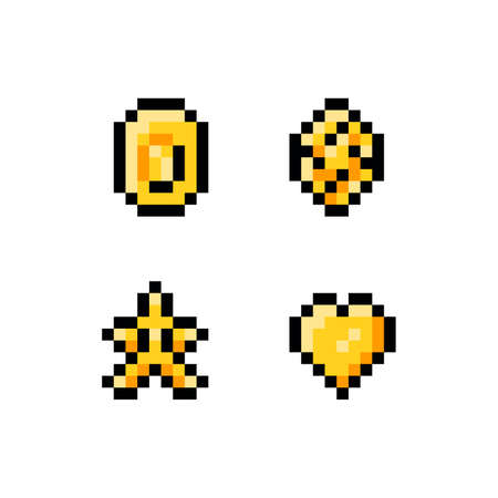 Pixel art vector illustration icon set. Golden yellow objects for game sprites - coin, gem, diamond, start, heart, isolated items on white