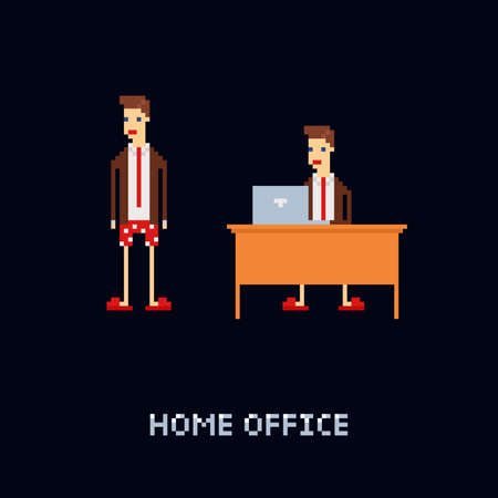 Vector pixel art character - young male worker at home, wering office suit and tie with underpants and slippers. isolation, freelance work. cartoon 8 bit illustration isolated on dark blue background