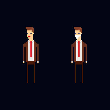 Pixel art vector character - cartoon male office worker wearing a brown suite, red tie and a medic protective mask. Isolated 8 bit illustration on dark blue background