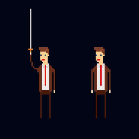Pixel art vector character - cartoon male office worker wearing a brown suite, red tie and holding a sword. Isolated 8 bit illustration on dark blue background