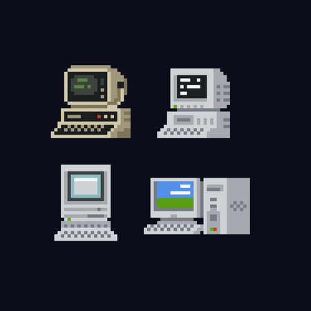 Retro personal computers with terminal console commands on the screen, computer case and keyboard vintage vector illustration icon set, isolated on dark background