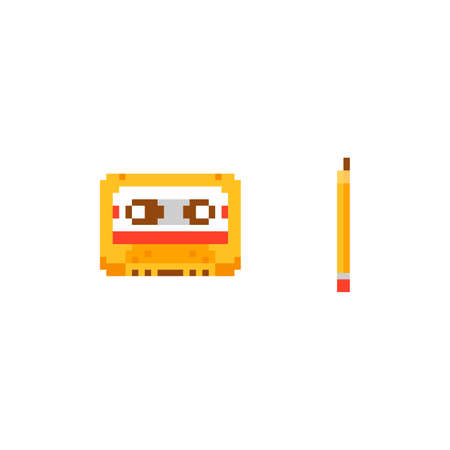 Pixel art vector illustration - audio tape compact cassette and pencil to rewind - isolated 8 bit retro object Stock Illustratie
