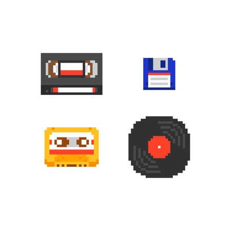 Pixel art vector illustration set - audio compact cassette, video tape cassette, floppy disk, vinyl record, isolated retro set on white background