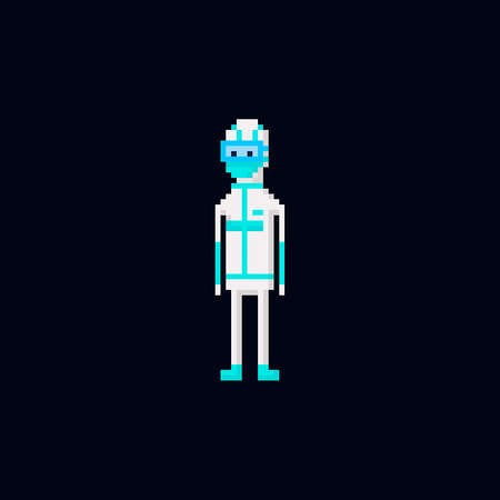 Pixel art vector illustration - white medical coronavirus protective suit and blue mask. virus health care specialists isolated