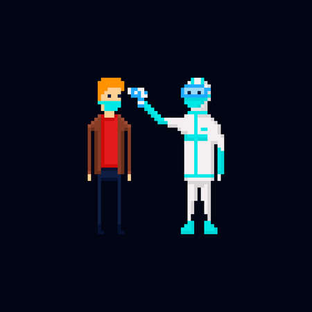 Pixel art vector illustration of a medic wearing a protective suit measuring temperature of a man with a sterile disposable medical face mask, coronavirus protection. 8 bit Covid-19 pandemy male characters isolated Stock Illustratie