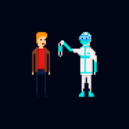 Pixel art vector illustration of a medic wearing a protective suit offering a sterile disposable medical face mask to a man, coronavirus protection. 8 bit Covid-19 pandemy male characters isolated