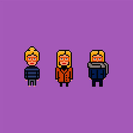 Pixel art 8 bit vector illustration set - young blond woman wearing different outfits - home, office and street fashion, isolated