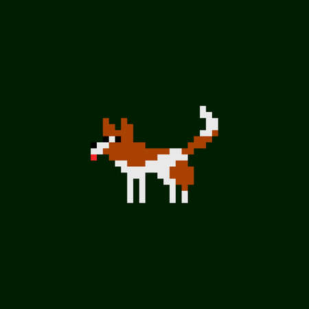 Vector pixel art icon - dog brown and white color, game design 8 bit sprite isolated animal illustration