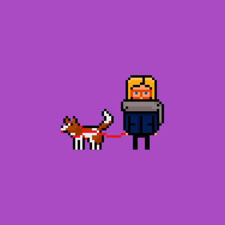 Vector pixel art illustration - young woman wearing glasses having a walk with a brown and white mixed breed dog. isolated 8 bit Stock Illustratie