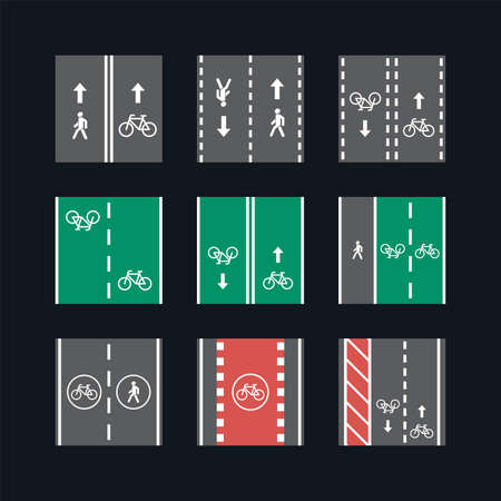 Bicycle and pedestrian road sign illustration set - square icons and pattern traffic markup signs - isolated vector