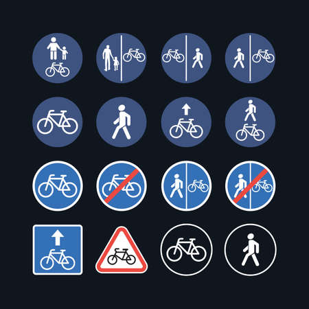 Bicycle and pedestrian traffic warning road signs - illustration icon set isolated