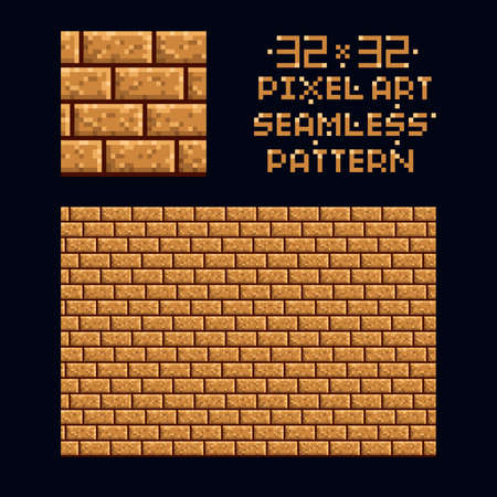Pixel art vector illustration 32x32 seamless sprite pattern texture - brown brick wall game design repeat tile isolated Vecteurs