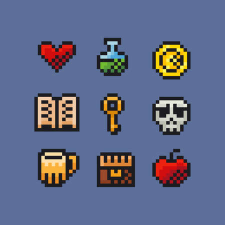 Vector pixel art illustration icon set - treasure chest, skull, magic potion, red heart, red apple, key, gold coin, old book, pint of beer for retro arcade fantasy adventure game development Vettoriali