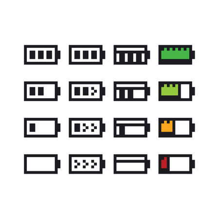 Vector pixel art icon set - 8 bit retro illustration of battery charging indicators, containing full, half and empty charge. Video game sprite collection icolated Vettoriali