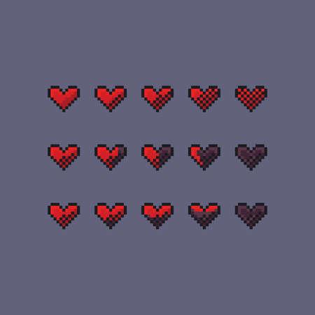 Pixel art vector game design interface set - red heart health icon 8-bit
