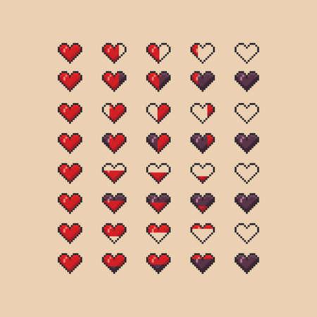 Heart health indicator vector pixel art icon set - full, half, empty live energy bar for arcade game design 8 bit Vettoriali