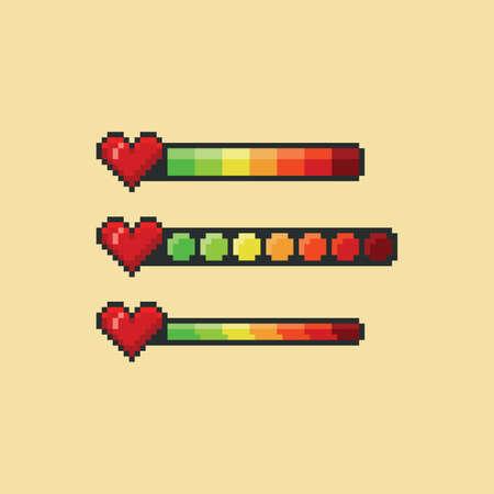 Pixel art vector illustration set - red heart and health bar color indicator, 8 bit game design hud graphic sprite