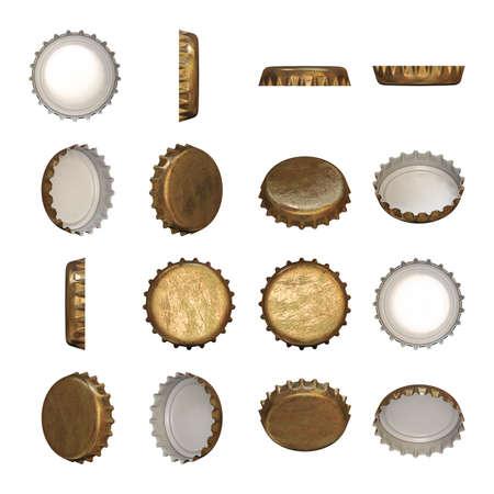botellas de cerveza: Una gorra de usar la corona de oro en diferentes ángulos. Foto de archivo