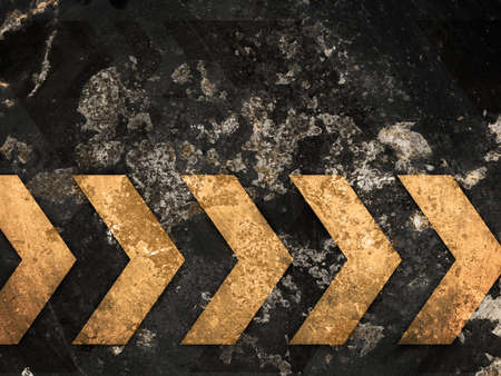 Yellow arrows on a worn background